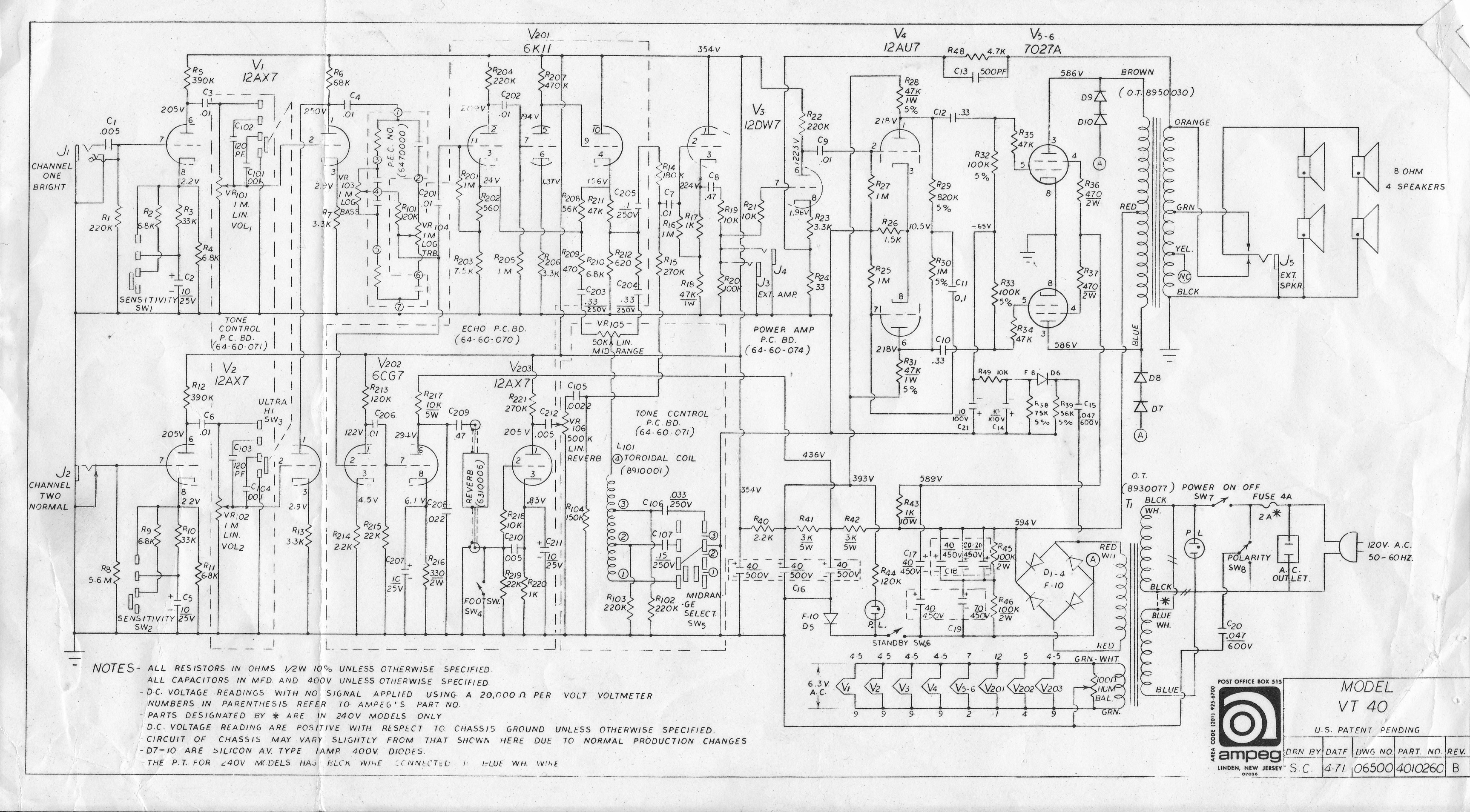 Schematics :: Ampeg V4.com   All Ampeg All The Time